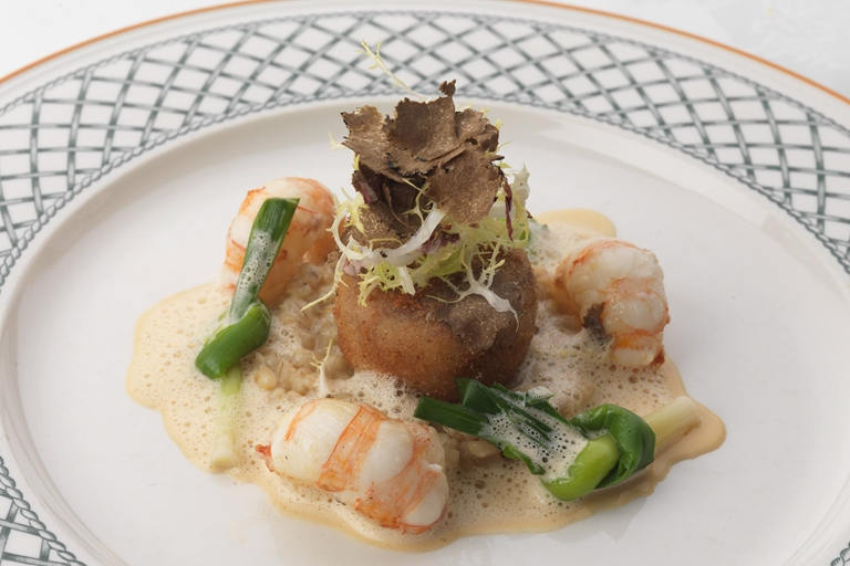 Langoustines with pearl barley and a pig's head beignet