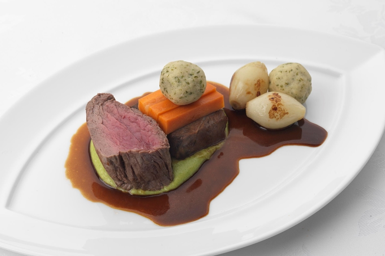 Fillet of Scottish beef with slow-cooked shoulder and marrow dumplings