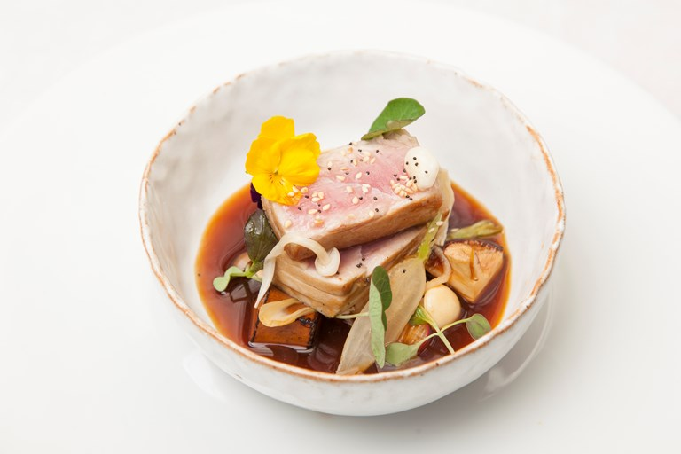 Seared tuna with tofu and miso