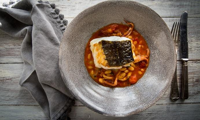Braised Squid With Skrei Cod Loin Recipe Great British Chefs