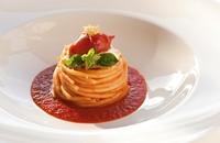 Spaghetti with Piennolo tomatoes and burrata