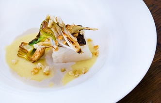 Icelandic cod with roasted onion cream and artichokes