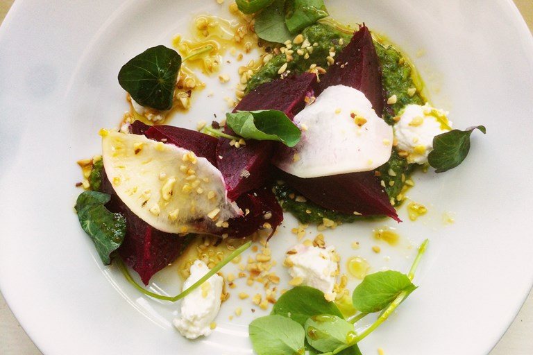 Beetroot, pickled turnip and goat curd salad