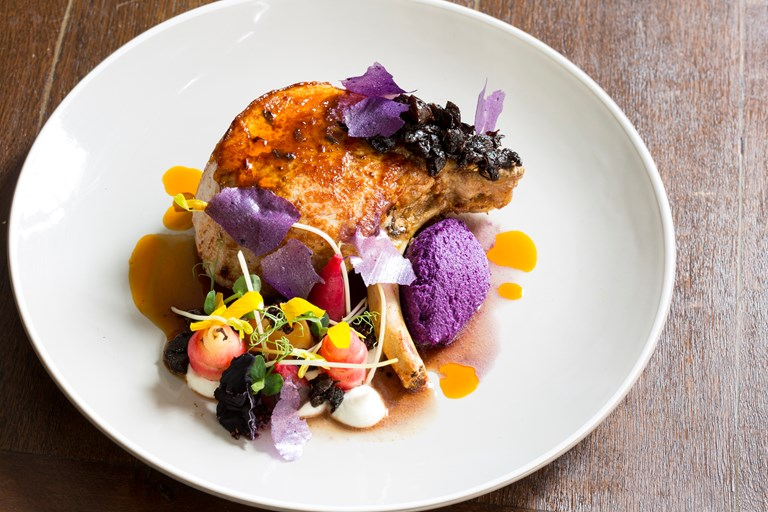 Organic pork chop, prunes, red cabbage, Greek yoghurt