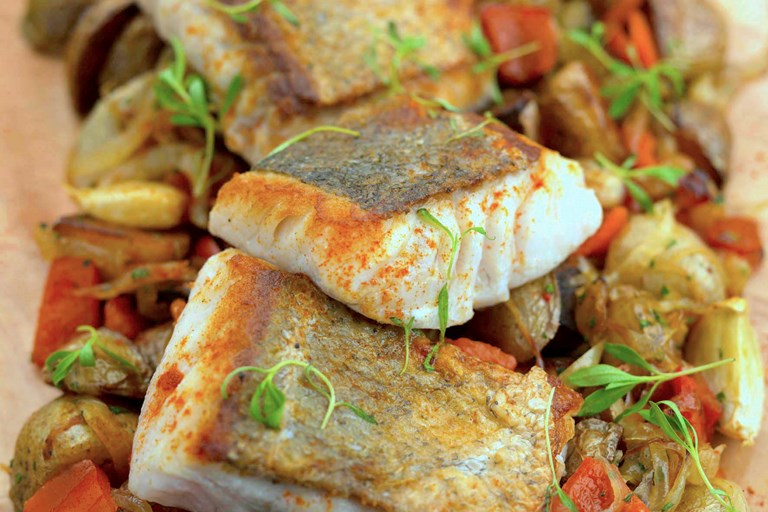 Roast hake with chorizo, chickpeas and coriander