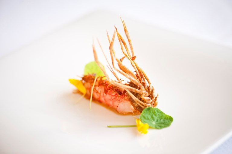 Prawns with dried scallops and roasted almond cream