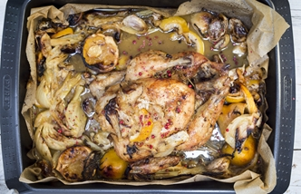 Roast lemon chicken recipe with garlic