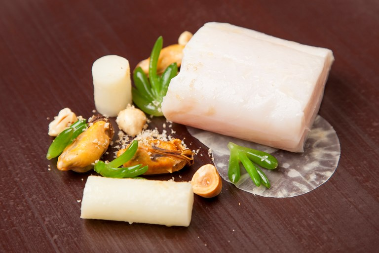 Pollock with celeriac and mussels