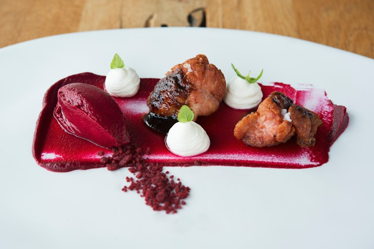 'Beautiful with soul' – crispy sweetbreads with beetroot ice cream, beetroot soil and yoghurt