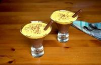 Cocoa cream with Amaretto cookie crumble and zabaione