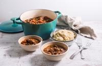 Beef casserole and celeriac mash