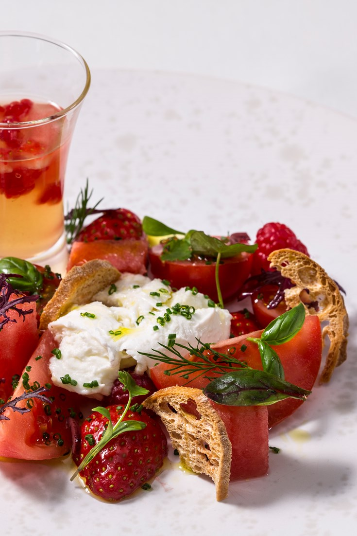 Tomato and berry salad recipe great british chefs for Canape ideas nigella