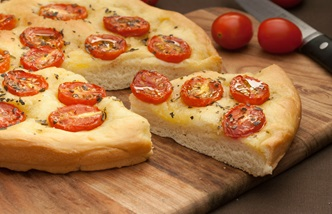 Schiacciata with cherry tomatoes