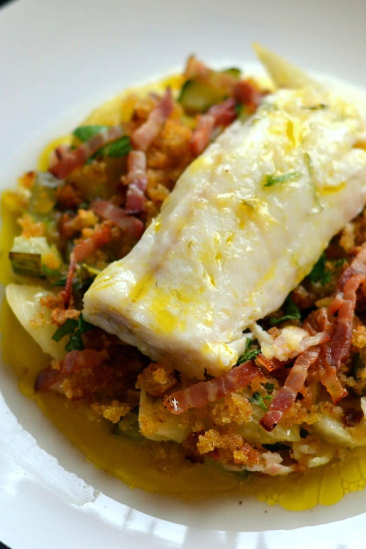 Baked Cod Loin Recipe With Braised Cucumber Great British Chefs
