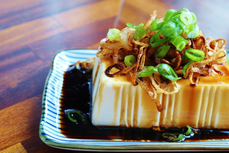 Chilled silken tofu with crispy shallots