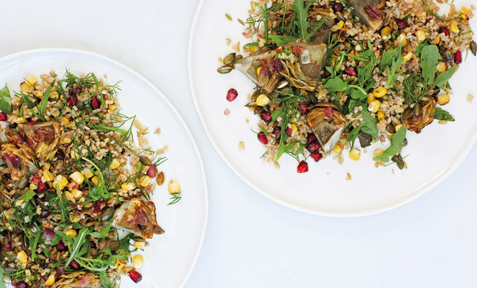 Freekeh, cumin-roast artichoke, grilled corn and pomegranate