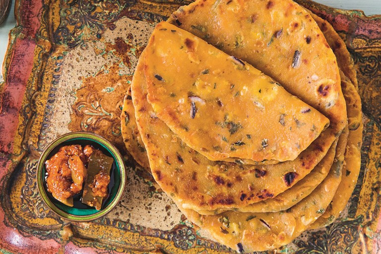 Sweet potato and squash parathas