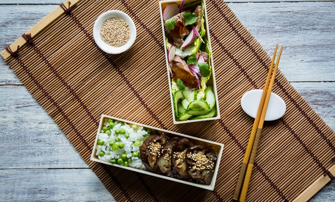 Steak teriyaki and miso aubergine bento box