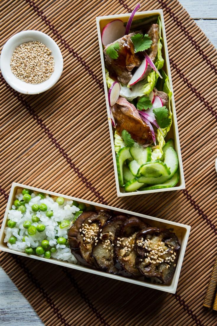 steak teriyaki and miso aubergine bento box recipe