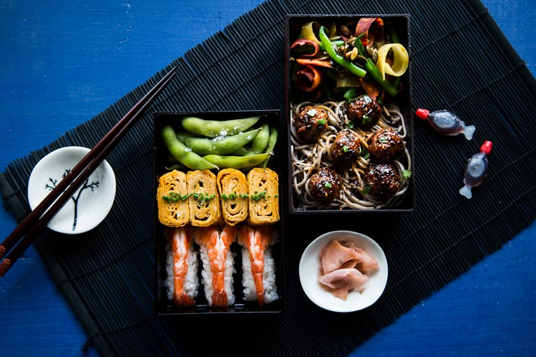Prawn nigiri, Japanese omelette and pork meatball bento box