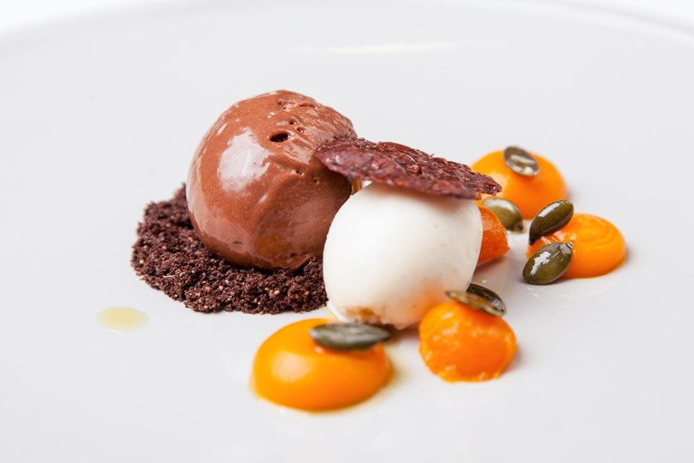 Chocolate mousse with crème fraîche sorbet and vanilla squash