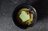 Shiro misoshiru uguisu tofu – white miso soup with edamame tofu