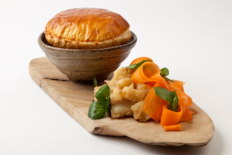 Steak and ale pie with caramelised celeriac