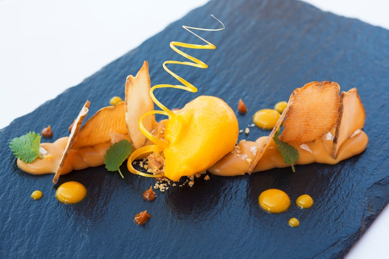 Mille feuille of Jerusalem artichokes with buffalo butter caramel and mango ice cream