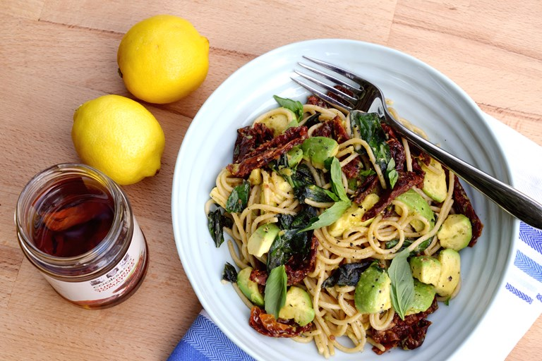 Sun-dried tomato and avocado spaghetti