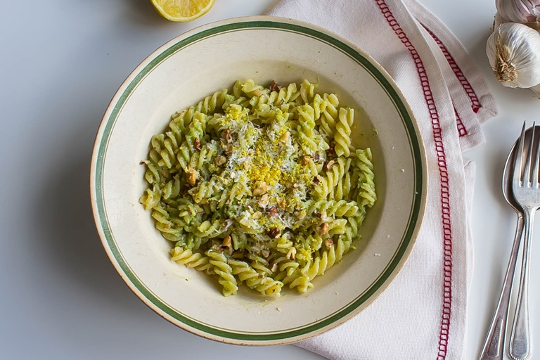 Fusilli with avocado pesto