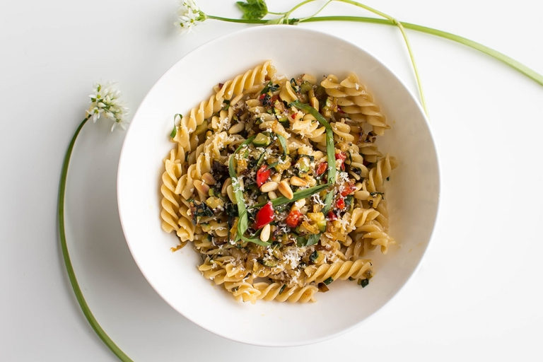 Wild garlic, zucchini and pine nut with whole wheat fusilli