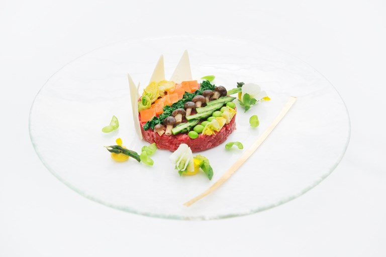 Beef tartare with garden vegetables