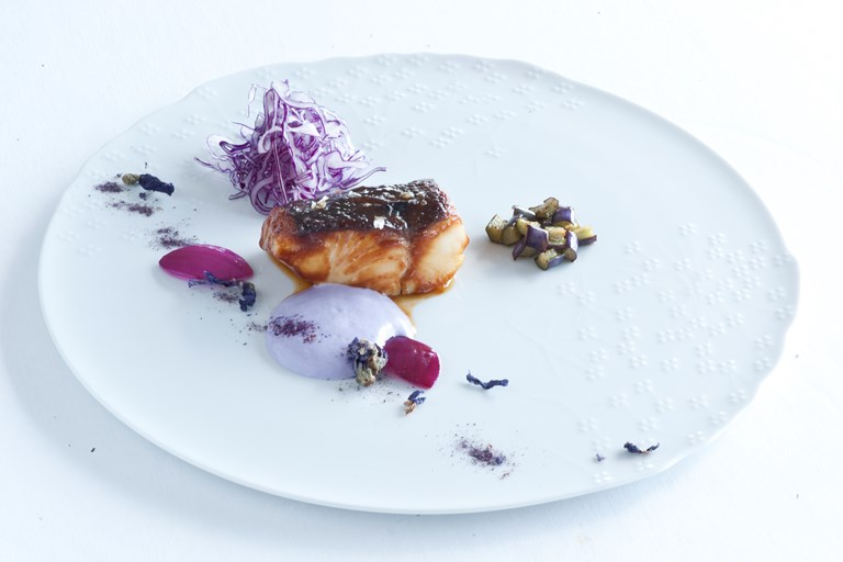 Sake-glazed pollock with purple vegetables