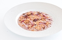 Red onion risotto with foie gras and spiced coffee