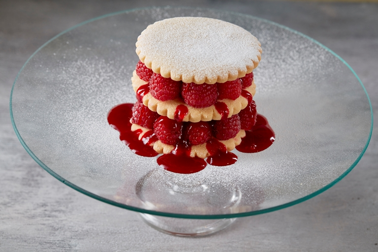 Raspberry shortbread stack