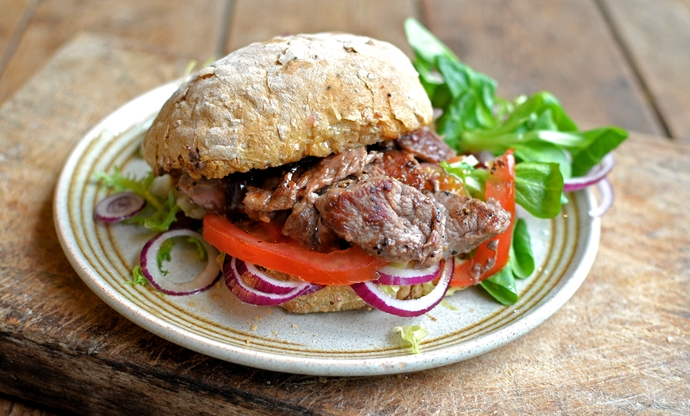 Lamb minute steak sandwiches with onion jam