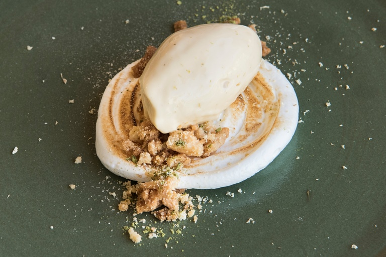 Chamomile ice cream, lemon meringue and almond crumble