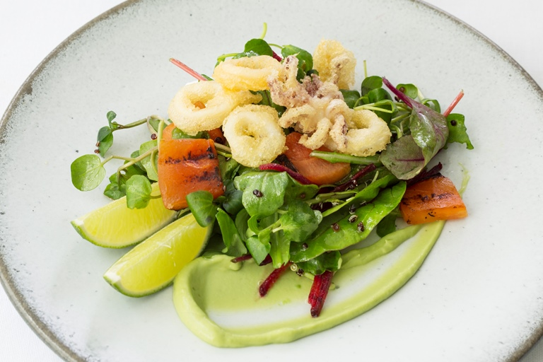 Salt and pepper calamari salad
