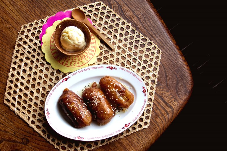 Chinese-style banana fritters with ginger ice cream
