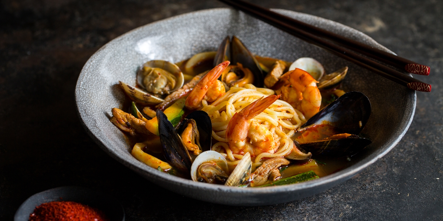 Jjamppong Korean Spicy Seafood Noodle Soup Recipe Great British Chefs