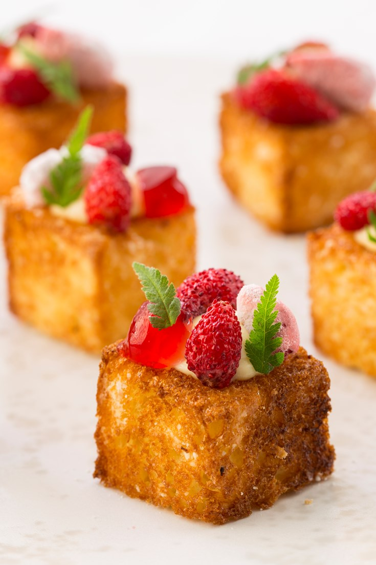 Cheesecake and brioche canap recipe great british chefs for Canape dessert ideas