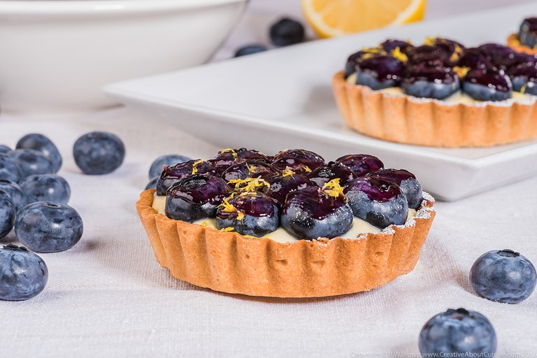 Blueberry and lemon custard tart