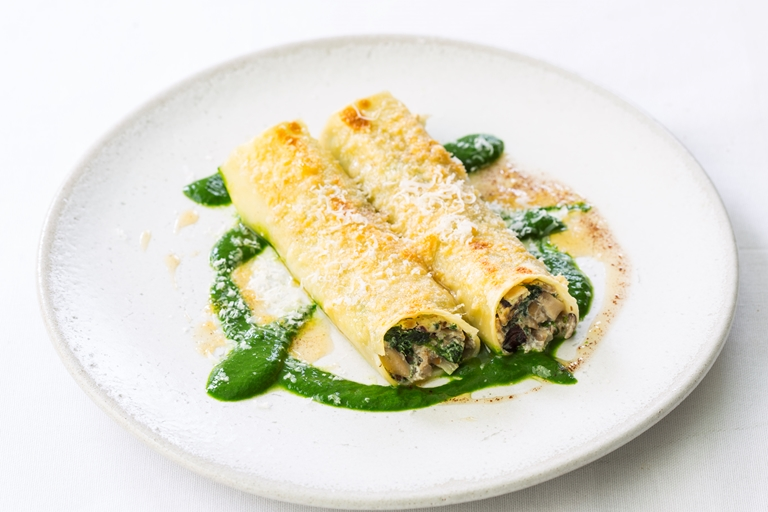 Cannelloni of mushrooms, ricotta and Parmesan with burnt butter and nutmeg