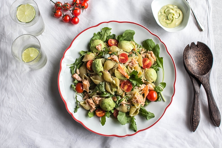 Salmon and rocket pasta salad