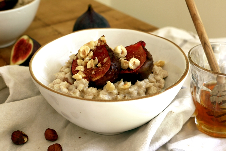 Creamy barley breakfast bowls with hazelnuts and figs