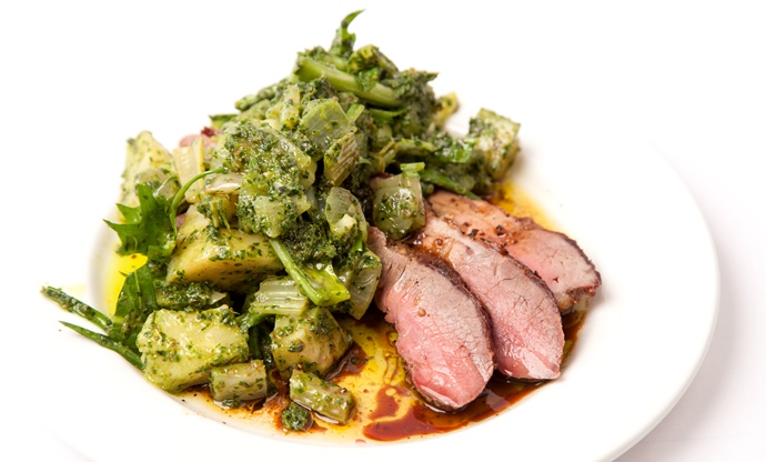 Rack of lamb, parsley and anchovy sauce