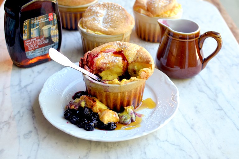 Blueberry souffles with maple drizzle