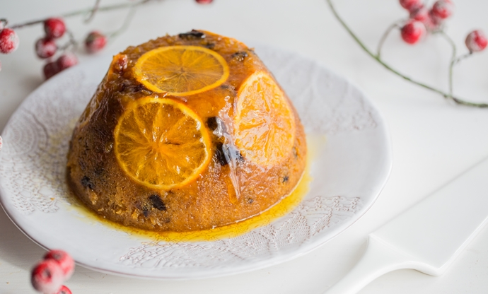 Christmas steamed sponge pudding