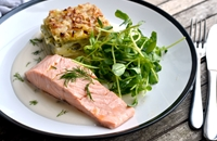 Poached salmon with potato, leek and watercress dauphinoise