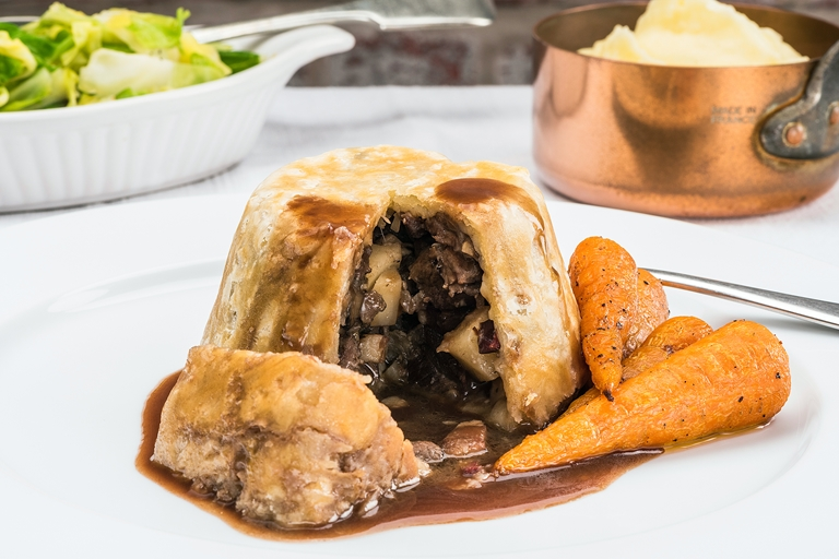 Venison, celeriac and mushroom pudding